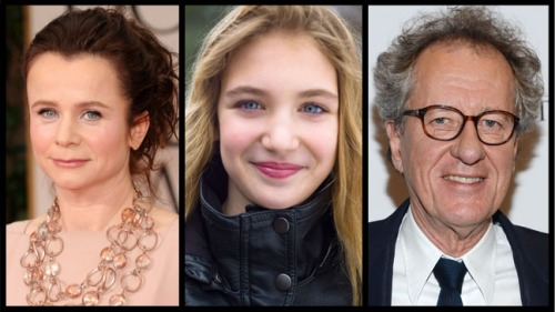 Emily Watson, Sophie Nelisse and Geoffrey Rush